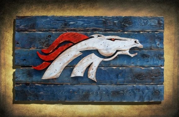 Denver Broncos Handmade Distressed Wood Sign, Vintage, Art With Broncos Wall Art (Image 12 of 20)