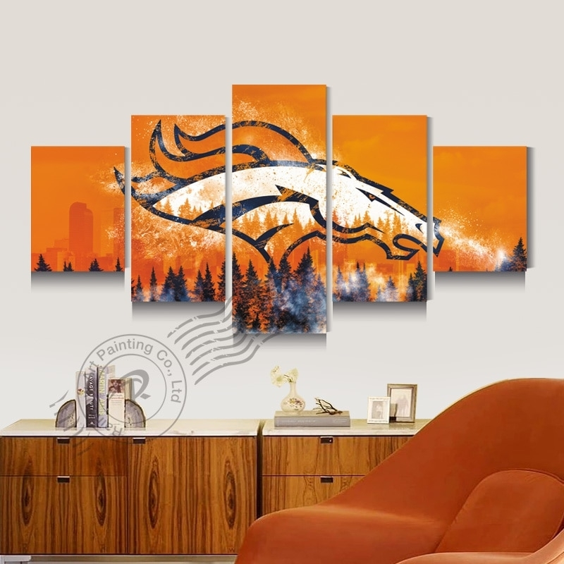 Denver Broncos Team Logo New Eagle Sport Team Logo Canvas Oil in Broncos Wall Art