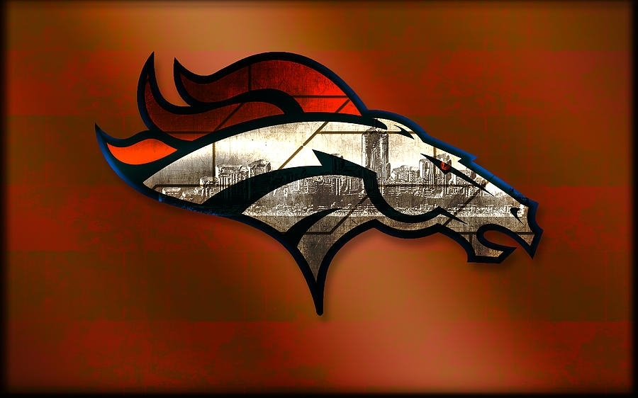 Denver Broncos With Skyline 2 Digital Artbecca Buecher With Regard To Broncos Wall Art (View 2 of 20)