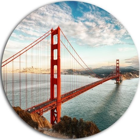 Design Art Golden Gate Bridge In San Francisco' Ultra Glossy Sea Within San Francisco Wall Art (Image 8 of 25)