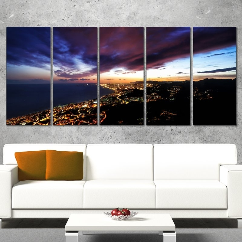 Designart Barcelona Skyline Panorama 5 Piece Wall Art On Wrapped With 5 Piece Wall Art Canvas (View 3 of 10)