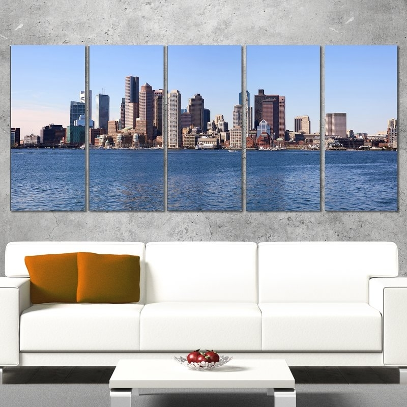 Designart Boston Skyline Panorama 5 Piece Wall Art On Wrapped Canvas Throughout Boston Wall Art (Image 19 of 25)
