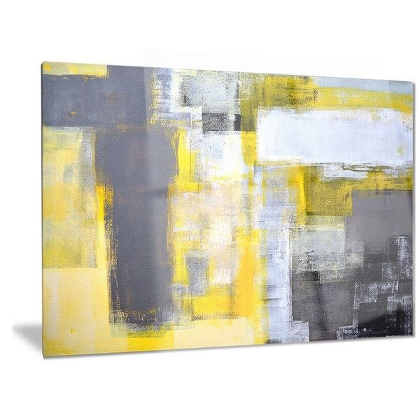 Designart 'grey And Yellow Blur Abstract' Abstract Metal Wall Art Inside Yellow Wall Art (View 5 of 20)