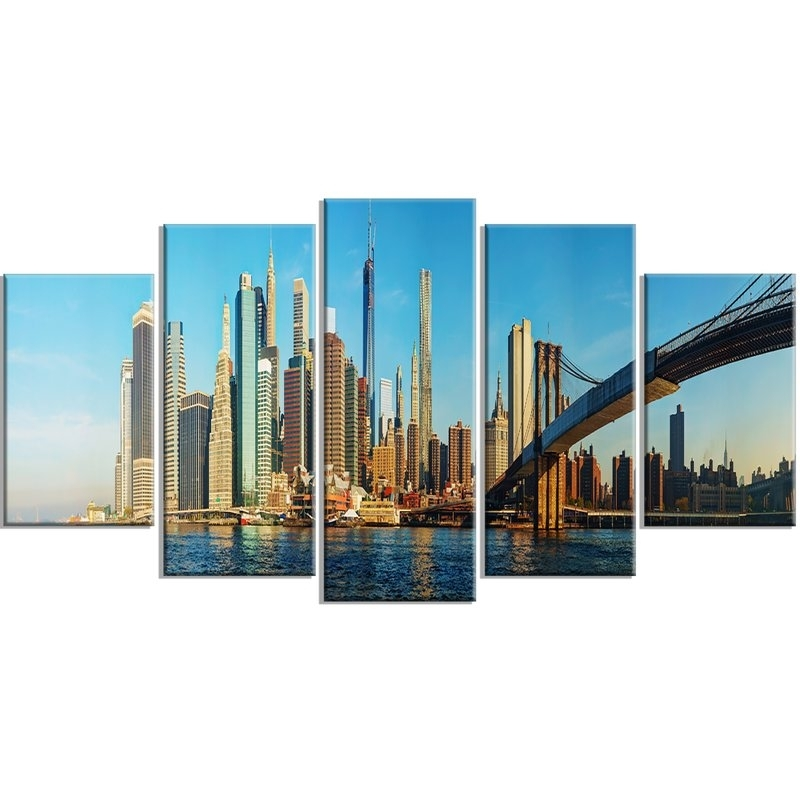Designart 'new York City With Brooklyn Bridge' 5 Piece Wall Art On Inside New York Wall Art (Image 6 of 25)