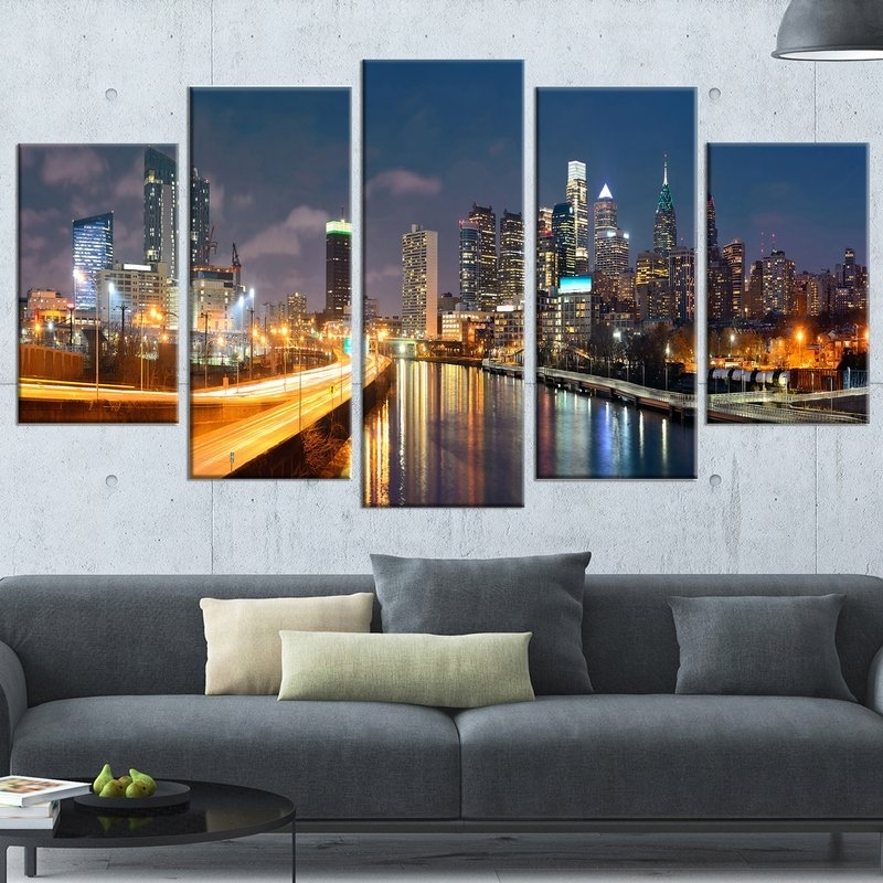 Designart 'philadelphia Skyline At Night' 5 Piece Wall Art On Inside 5 Piece Wall Art (Image 13 of 25)