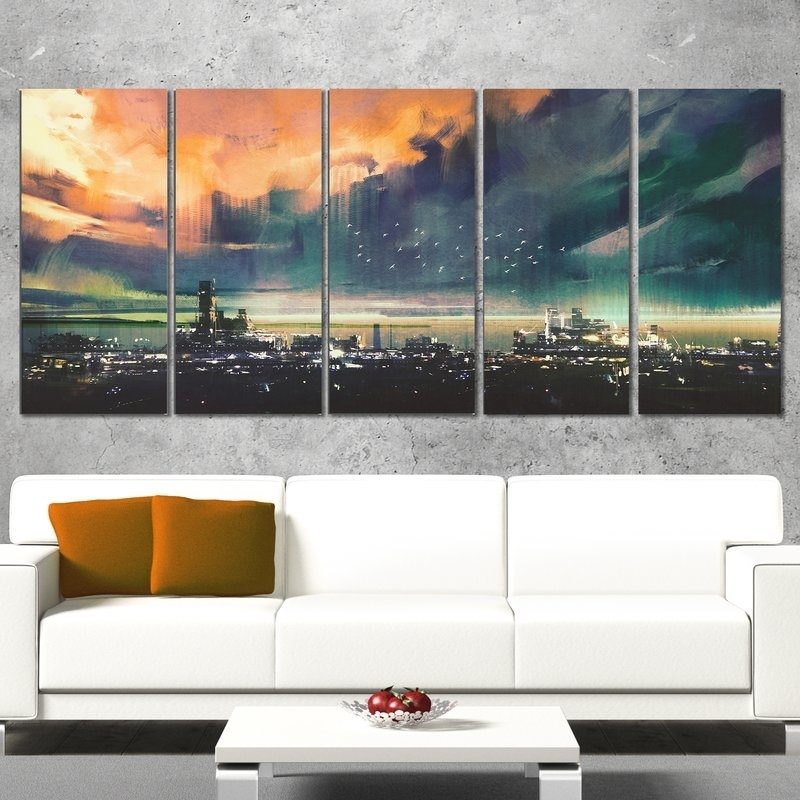 Designart Sci Fi City 5 Piece Wall Art On Wrapped Canvas Set | Wayfair Throughout 5 Piece Wall Art (Image 14 of 25)