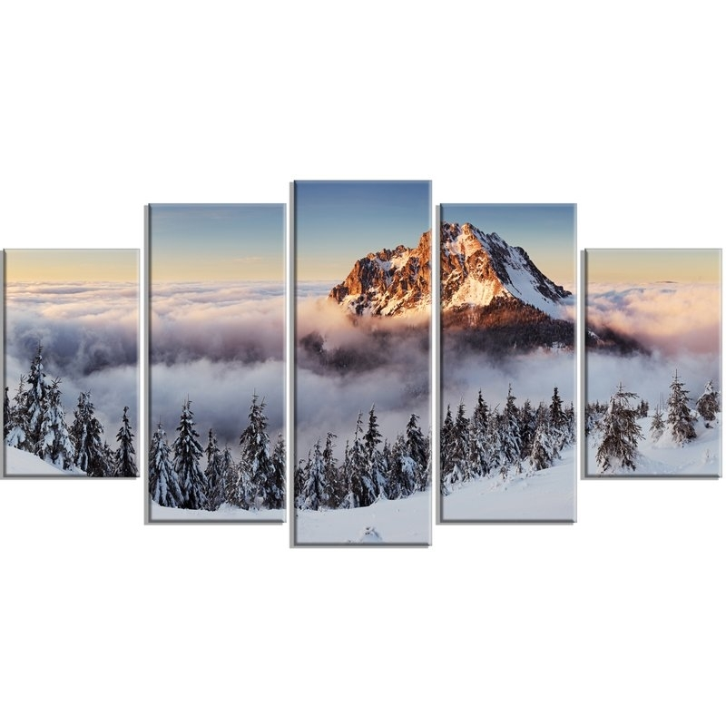 Designart 'winter Mountain Landscape' 5 Piece Wall Art On Wrapped Pertaining To 5 Piece Wall Art Canvas (View 9 of 10)