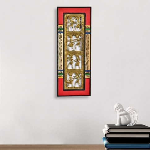Dhokra Work And Warli Handpainted Vertical Wall Décor For Vertical Wall Art (Image 7 of 20)