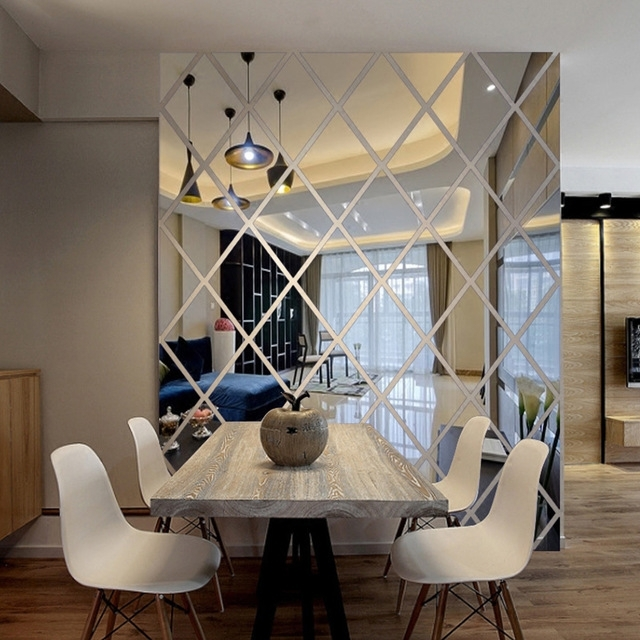 Diamonds Triangles Wall Art Acrylic Mirror Wall Sticker House With Regard To Mirror Wall Art (Image 6 of 10)