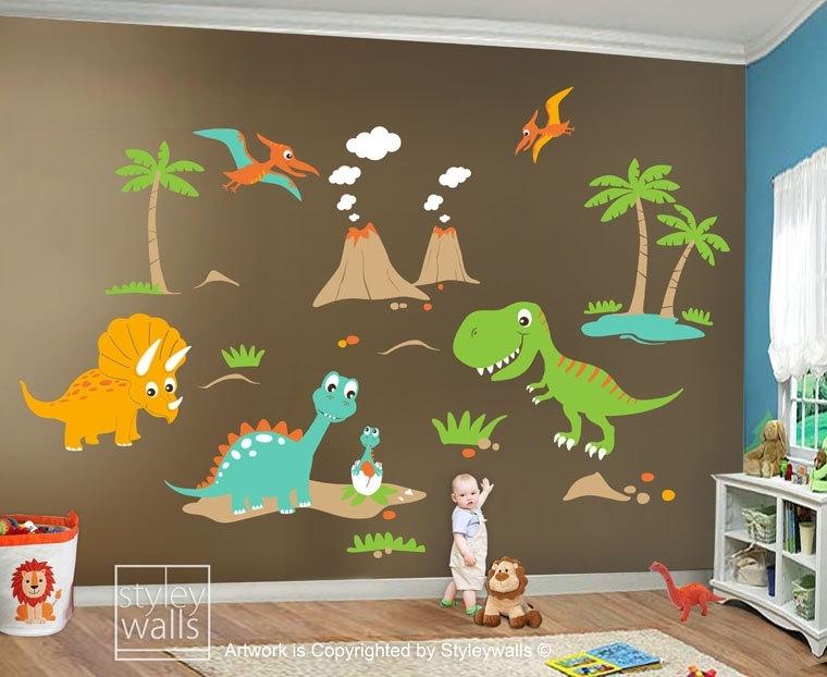 Dinosaur Wall Decals – 1 – In Decors Regarding Dinosaur Wall Art (Image 9 of 20)