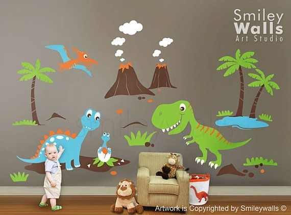 Dinosaurs Wall Decal, Dino Dinosaurs Land Huge Set Baby Nursery Kids In Dinosaur Wall Art (Image 10 of 20)
