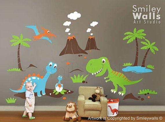 Dinosaurs Wall Decal, Dino Dinosaurs Land Huge Set Baby Nursery Kids In Dinosaur Wall Art (View 10 of 20)