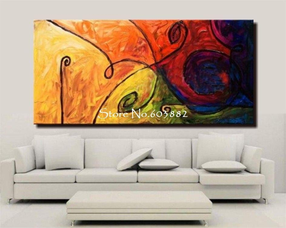 Discount 100% Handmade Large Canvas Wall Art Abstract Painting On With Regard To Cheap Large Wall Art (Image 8 of 25)