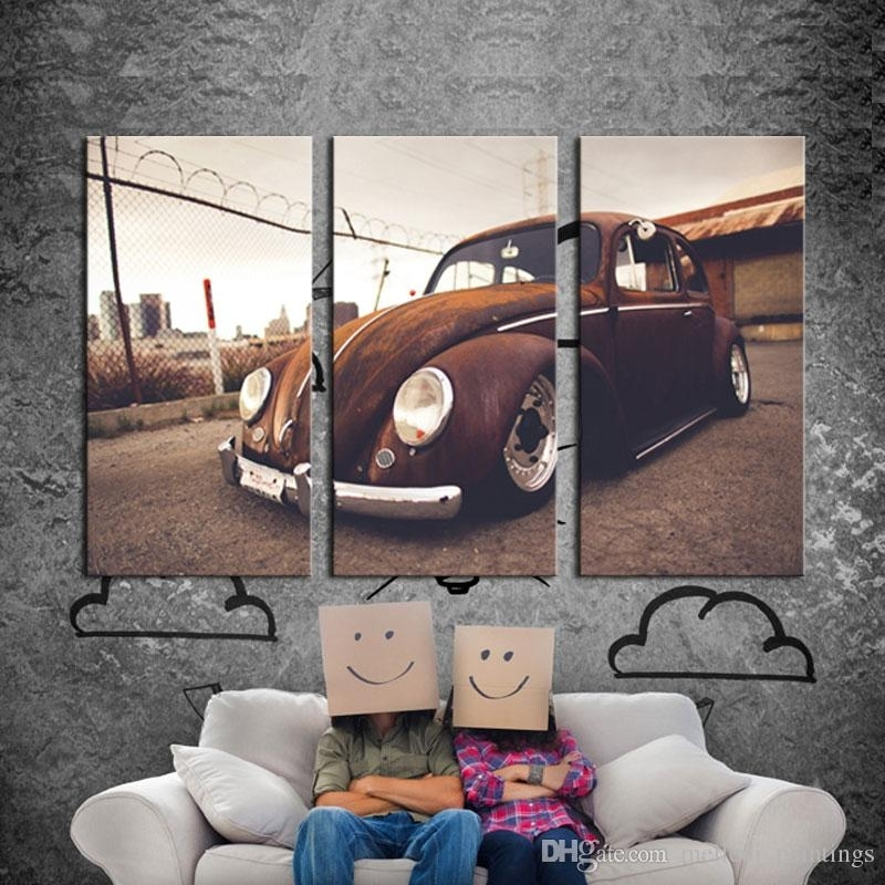 Discount 3 Picture Combination Wall Art Vw Beetle Volkswagen Vintage For Car Canvas Wall Art (View 21 of 25)