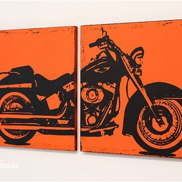 Distressed Harley Davidson Motorcycle From Rightgrain On Etsy Intended For Harley Davidson Wall Art (Image 2 of 25)