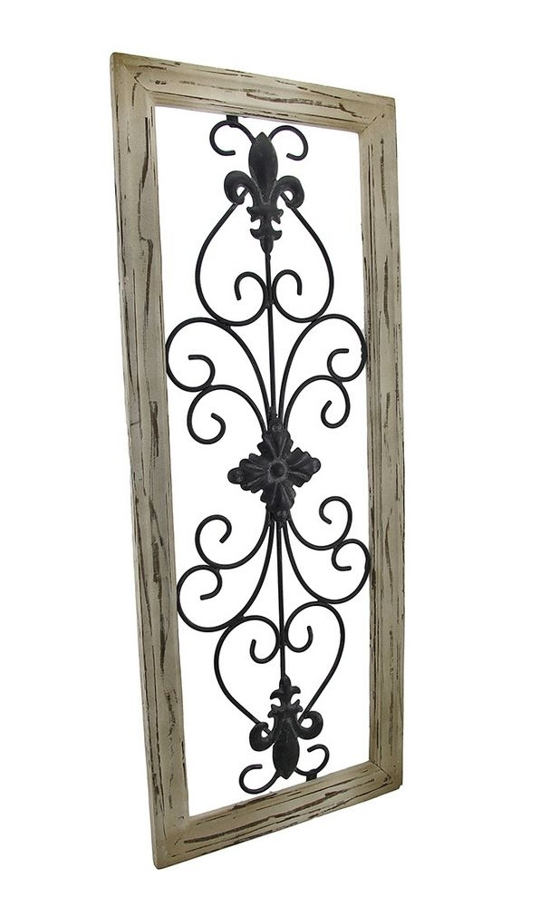 Distressed Wooden Tan Frame Wrought Iron Fleur De Lis Wall Decor 30 With Fleur De Lis Wall Art (View 25 of 25)
