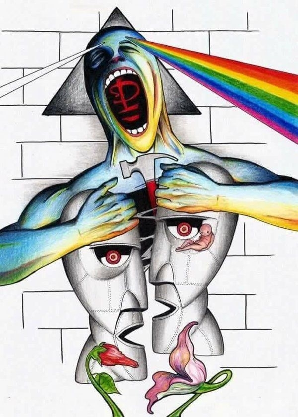 Division Bell Meets The Dark Side Of The Wall | Ese Sí Es Equipó Intended For Pink Floyd The Wall Art (Image 5 of 20)