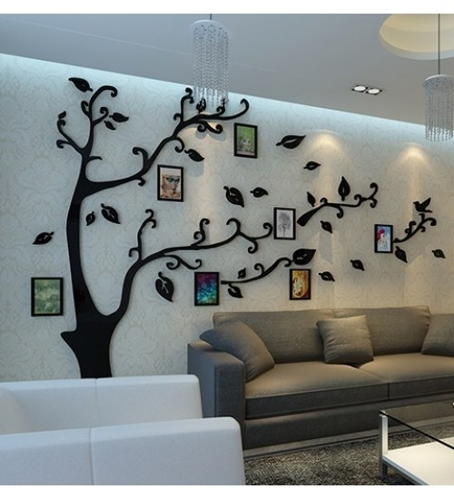 Diy 3D Crystal Acrylic Mirror Photo Frame Tree Wall Art Sticker Within Acrylic Wall Art (Image 16 of 25)