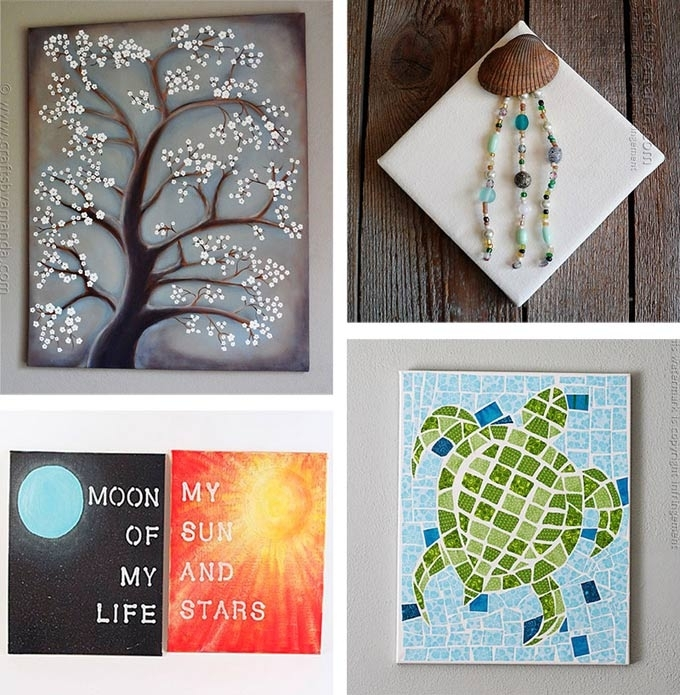 Diy Canvas Wall Art Ideas 30 Tutorials Pertaining To Projects Decor Regarding Diy Wall Art Projects (Image 17 of 25)
