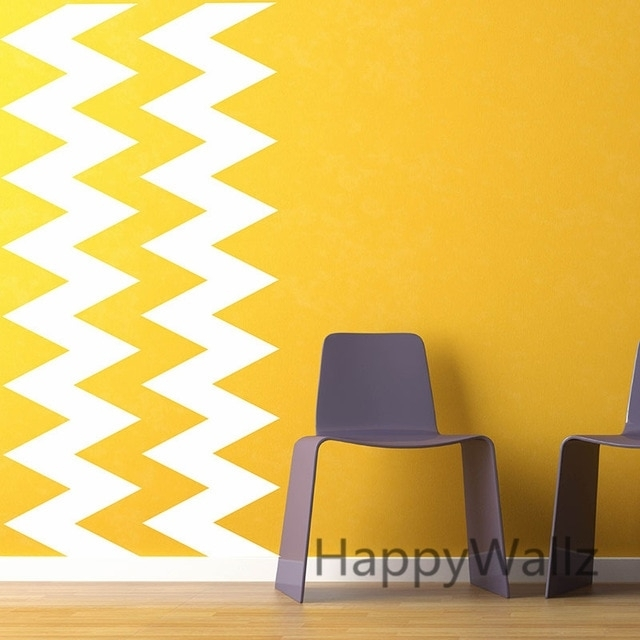 Diy Chevron Stripes Wall Stickers Decorative Chevron Wall Decals Intended For Chevron Wall Art (Image 11 of 25)