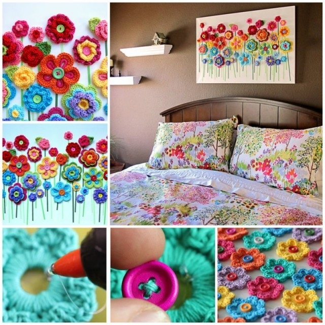 Diy Crochet Button Flower Blossom Wall Art Intended For Crochet Wall Art (Image 13 of 20)