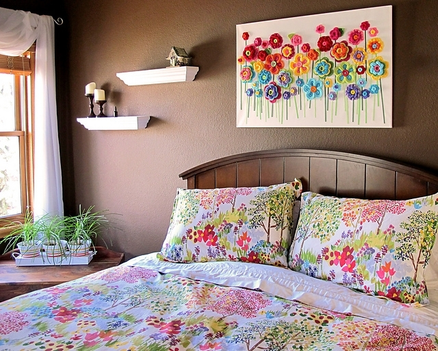 Diy Crochet Button Flower Blossom Wall Art Regarding Crochet Wall Art (Image 14 of 20)