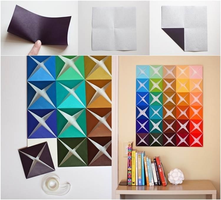 Diy Easy Folded Paper Wall Art With Regard To Paper Wall Art (Image 5 of 25)