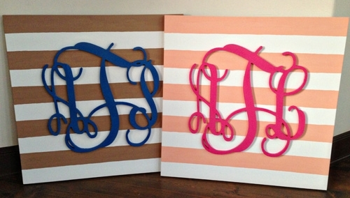 Diy: Monogram Wall Art Within Monogram Wall Art (Image 7 of 25)