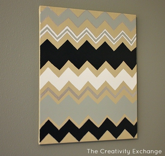 Diy Multi Colored Chevron Canvas Art With Printable Stencil Within Chevron Wall Art (Image 13 of 25)