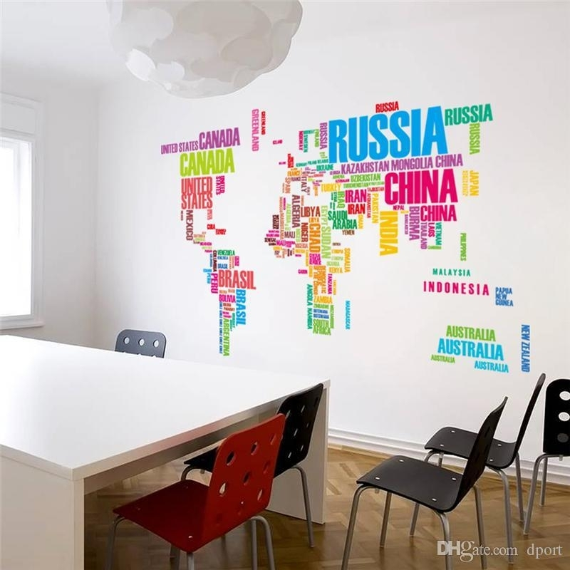 Diy Office Wall Art Colorful Letters World Map Wall Stickers Living Intended For Wall Art Stickers World Map (Image 6 of 25)