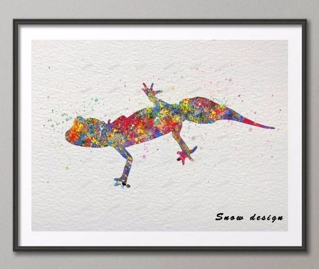 Diy Original Barking Gecko Watercolor Canvas Painting Wall Art With Regard To Gecko Canvas Wall Art (View 8 of 20)
