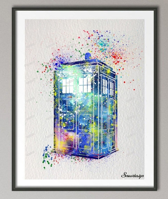 Diy Original Watercolor Doctor Who Tardis Wall Art Canvas Painting Regarding Doctor Who Wall Art (Image 3 of 10)