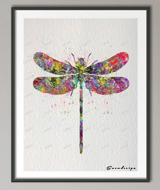 Diy Original Watercolor Dragonfly Canvas Painting Pop Wall Art Inside Dragonfly Painting Wall Art (Image 9 of 25)