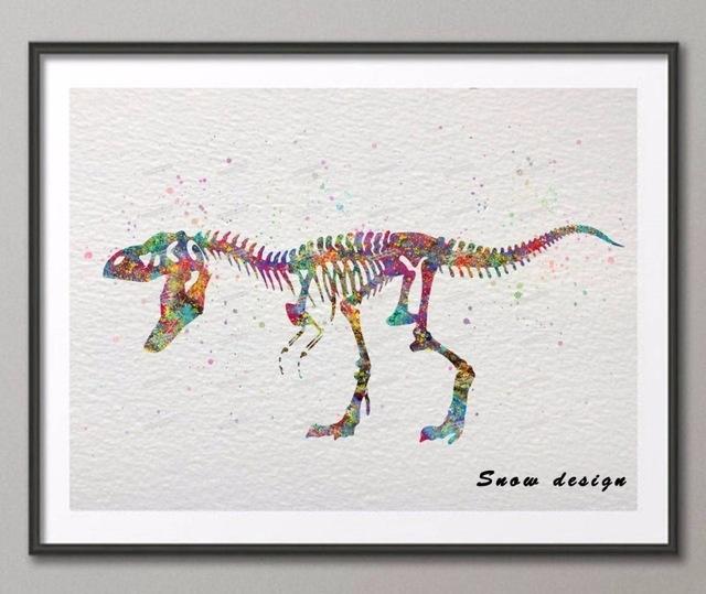 Diy Original Watercolor Skull Dinosaur Wall Art Canvas Painting For Dinosaur Wall Art (Image 11 of 20)