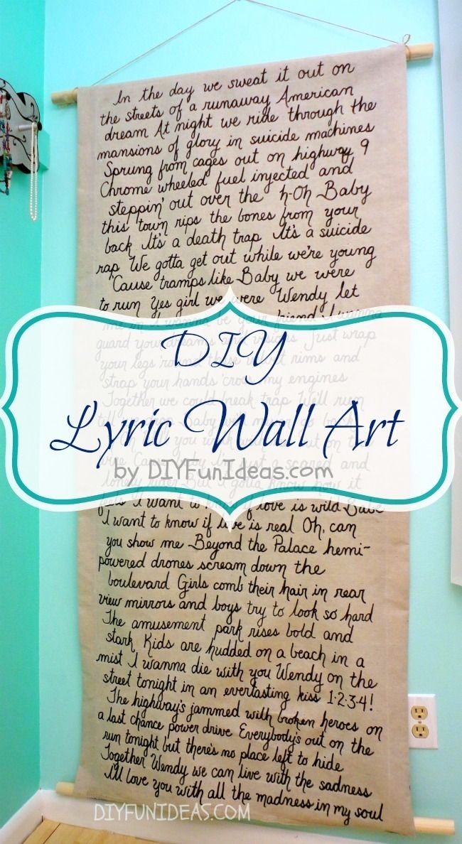 Diy Song Lyric Wall Art On Dropcloth Canvas | Share Today's Craft Throughout Song Lyric Wall Art (Image 5 of 20)