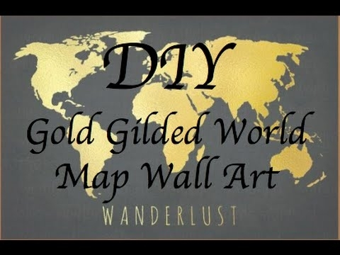 Diy Tumblr Room Decor | Wall Art: Gold And Black World Map Canvas With Wall Art Map Of World (Image 3 of 25)