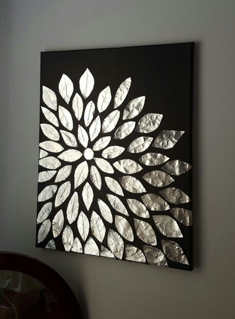 Diy Wall Art Blank Canvas Aluminum Foil And Mod Podge Diy Black Wall Regarding Black Wall Art (Image 10 of 20)