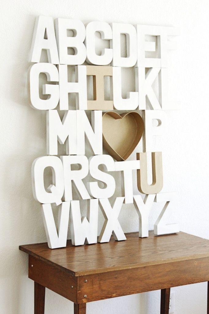Diy Wall Art – Paper Mache Alphabet Craft | Nursery | Pinterest Pertaining To Alphabet Wall Art (View 22 of 25)