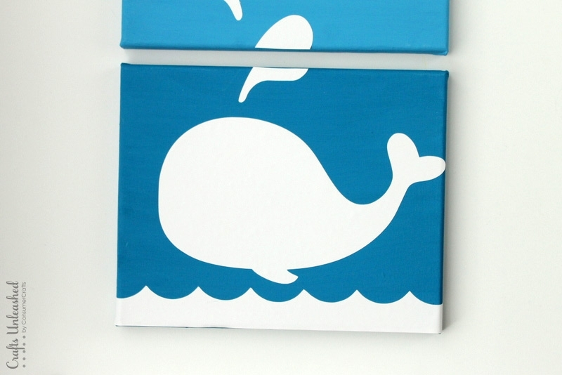 Diy Whale Art Canvases: Stepstep – Crafts Unleashed Inside Whale Canvas Wall Art (Image 8 of 25)