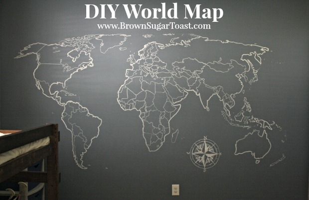 Diy World Map Wall Art – Brown Sugar Toast With Diy World Map Wall Art (Image 11 of 25)
