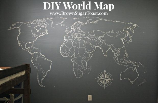 Diy World Map Wall Art – Brown Sugar Toast With Diy World Map Wall Art (View 10 of 25)
