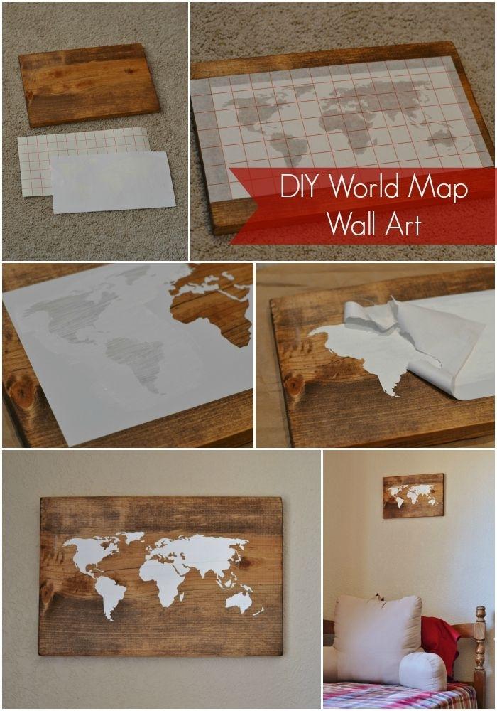 Diy World Map Wall Art Tutorial | Travel :)))))) | Pinterest | Art Within Diy World Map Wall Art (View 5 of 25)