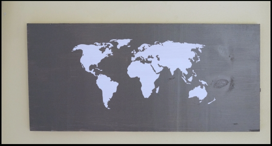 Diy World Map Wall Art With My Silhouette (With Tutorial For Diy World Map Wall Art (Image 16 of 25)