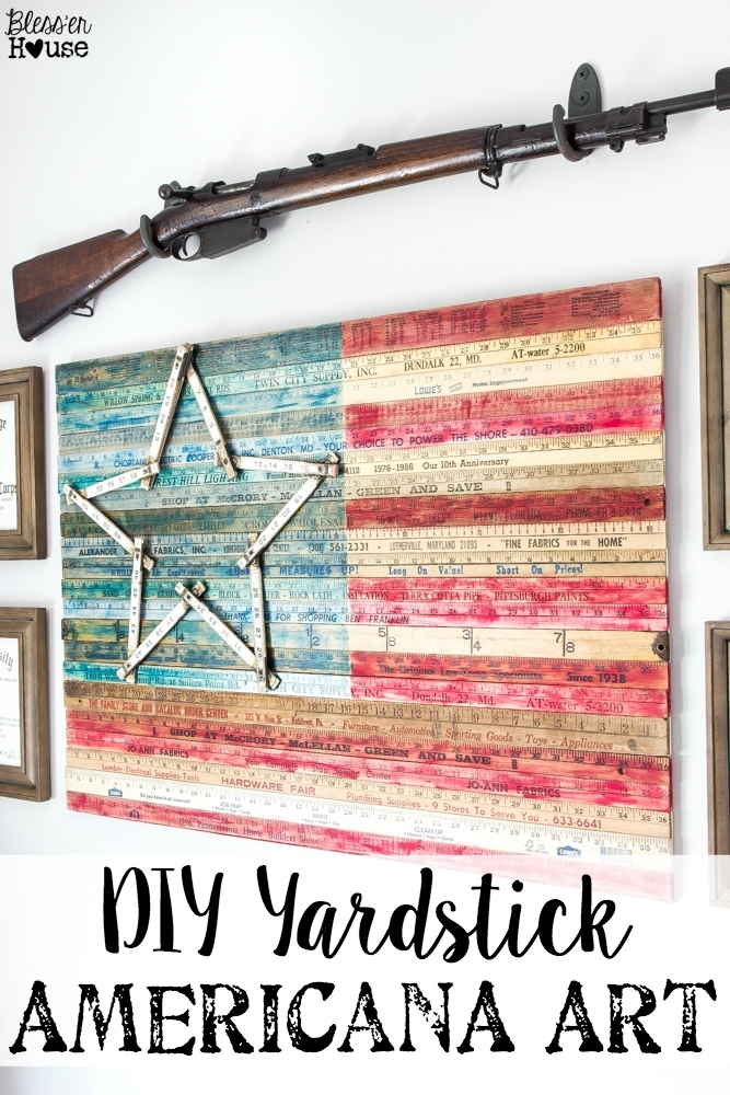 Diy Yardstick American Flag Wall Art (Thrifty Under Fifty) – Bless With Vintage American Flag Wall Art (Image 7 of 25)