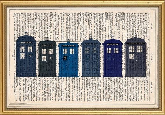 Doctor Who Tardis Dictionary Art Print Book Page Antique Vintage With Doctor Who Wall Art (Image 6 of 10)