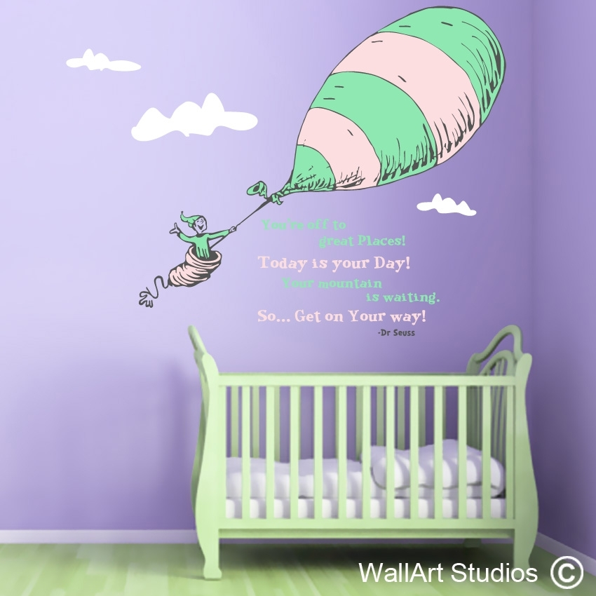 Dr Seuss Custom Wall Art Vinyl Stickers – Places We Go | Wall Art With Dr Seuss Wall Art (Image 1 of 20)