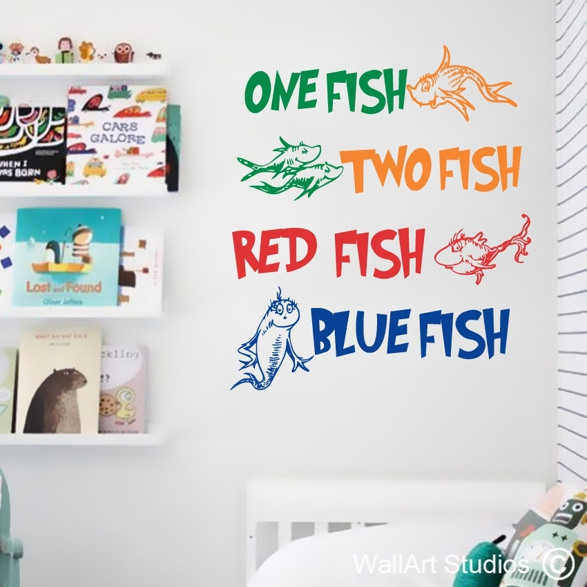 Dr Seuss One Fish Wall Art Decal | Custom Made Stickers | Wall Art With Regard To Dr Seuss Wall Art (View 10 of 20)