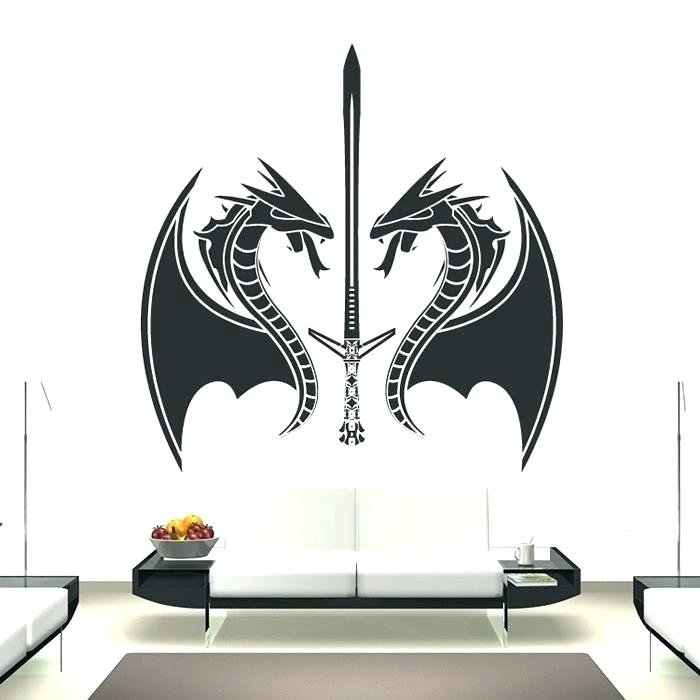 Dragon Wall Decal Dragon Wall Decor Dragons And Swords Fantasy Within Dragon Wall Art (View 17 of 25)