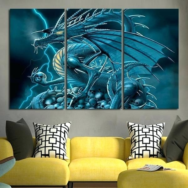 Dragon Wall Decoration 5 Panels Unframed Wall Art Painting Ice In Dragon Wall Art (View 16 of 25)