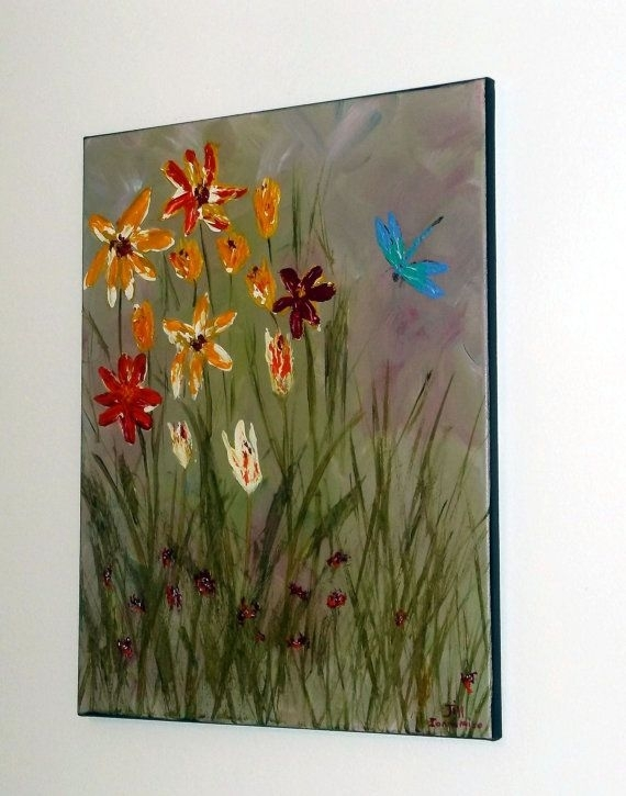 Dragonfly Painting, Wall Art Flower Wall Hanging Dragonfly Home In Dragonfly Painting Wall Art (View 16 of 25)